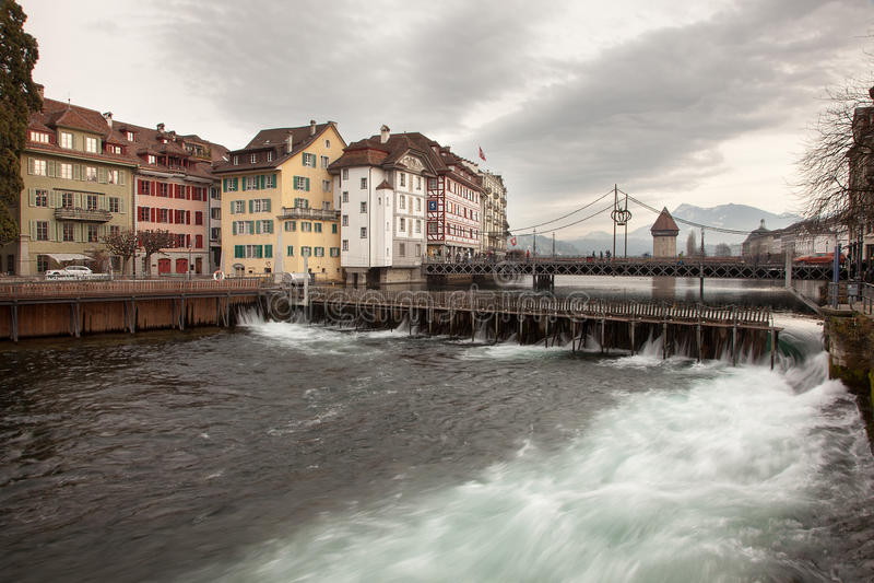 Stadsmeningen van Luzern van de binnenstad Luzerne, Zwitserland stock fotografie