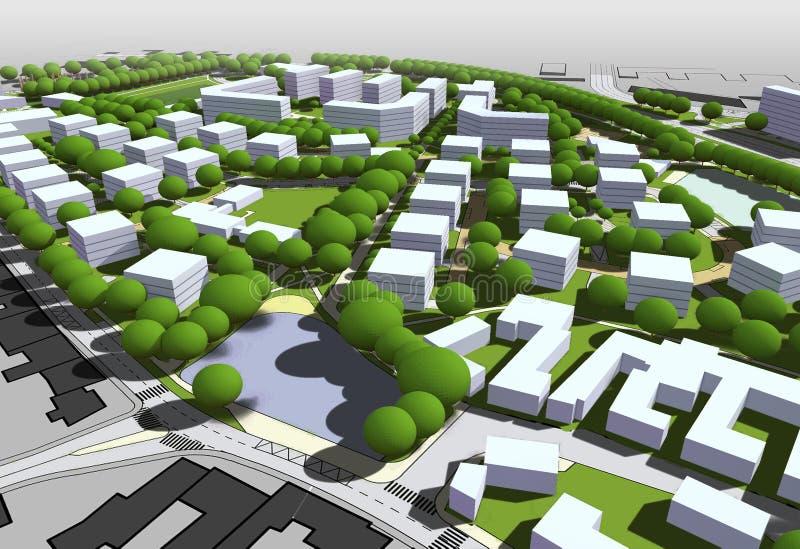 Stadsmodell stock illustrationer
