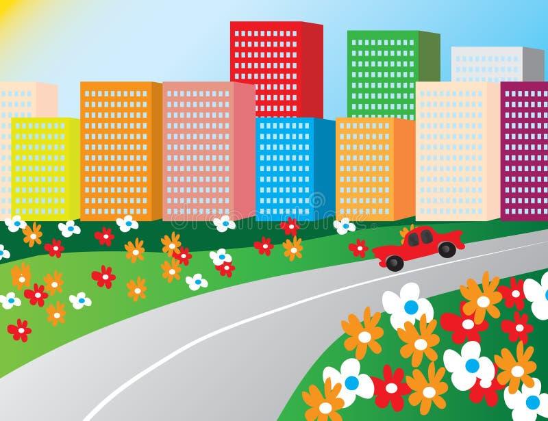 stadsmorgonväg royaltyfri illustrationer