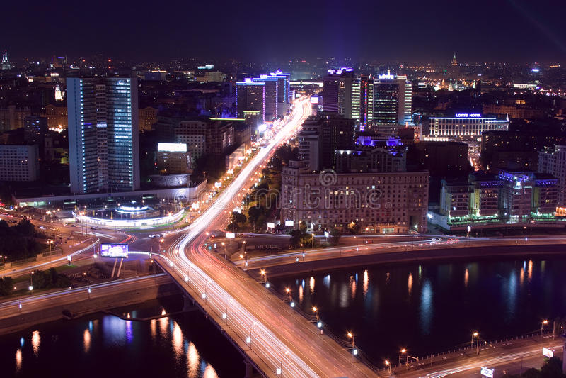 stadsmoscow natt royaltyfri fotografi
