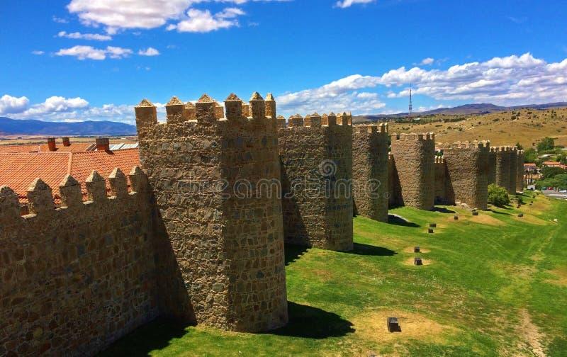Stadsmuren van Avila, Spanje royalty-vrije stock foto