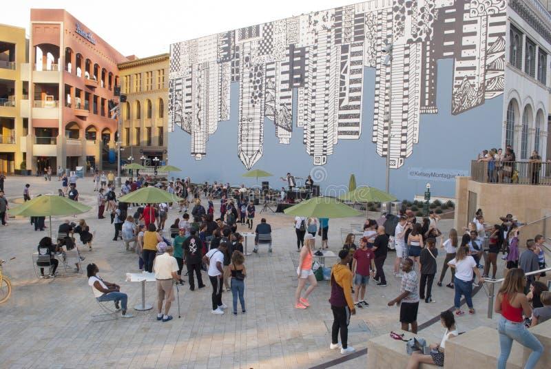 Stadsmusikhändelse Strid San Diego, CA arkivbild