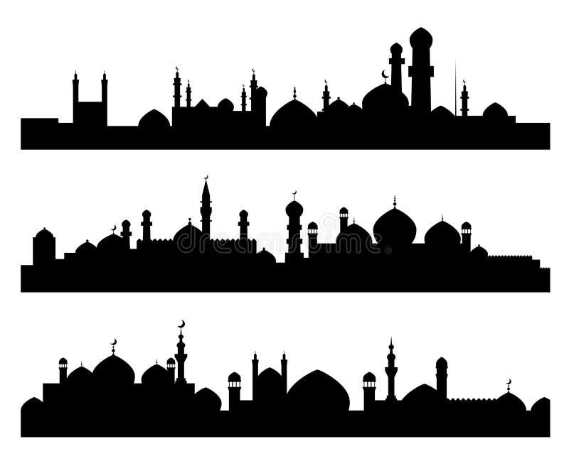 stadsmuslimsilhouettes vektor illustrationer