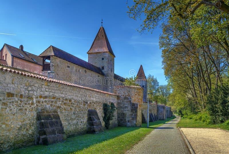 Stadsmuur in Amberg, Duitsland stock afbeeldingen