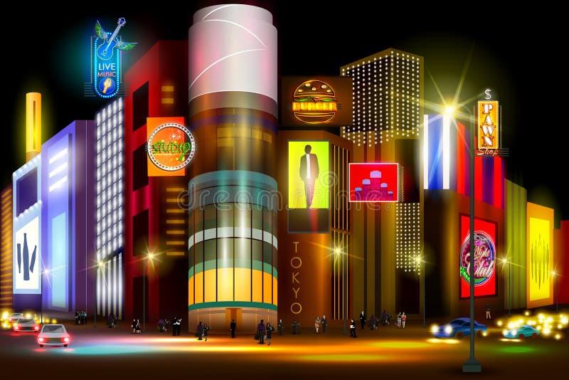 Stadsnachtleven van bezige straat Tokyo vector illustratie