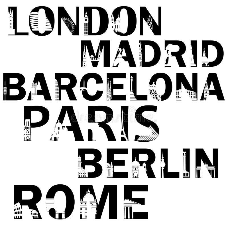Stadsnamen in woorden in zwarte kleur met de bezienswaardigheden royalty-vrije illustratie