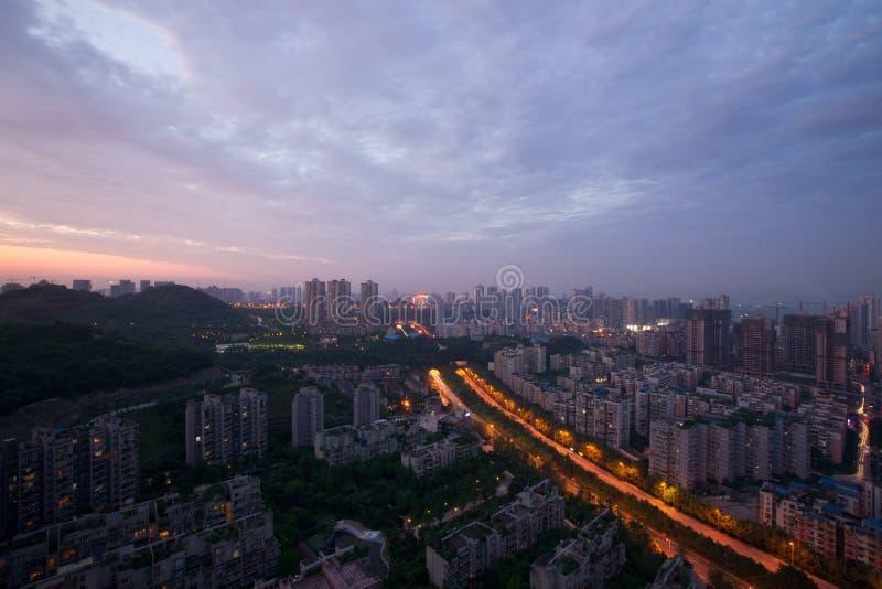 Stadsnattplats, chongqing, porslin fotografering för bildbyråer