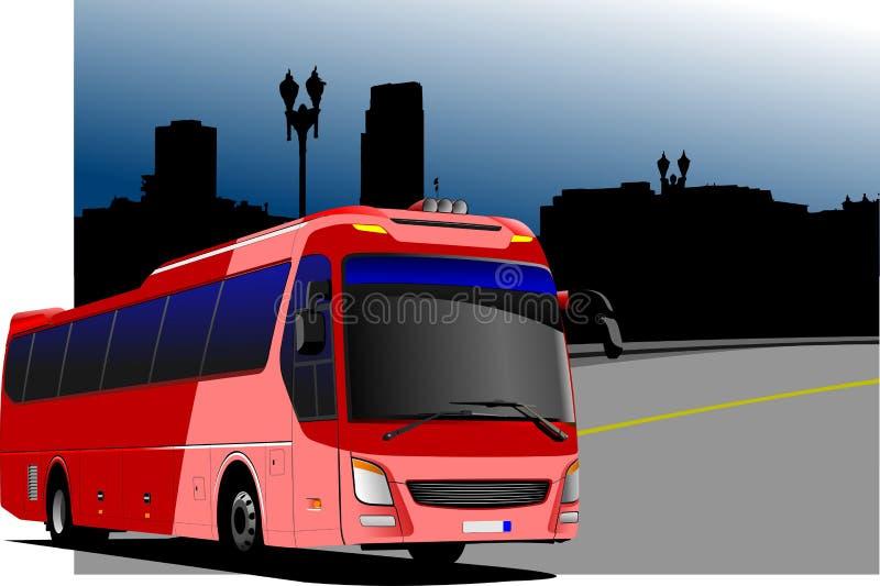 Stadspanorama med bild för turist- buss stock illustrationer