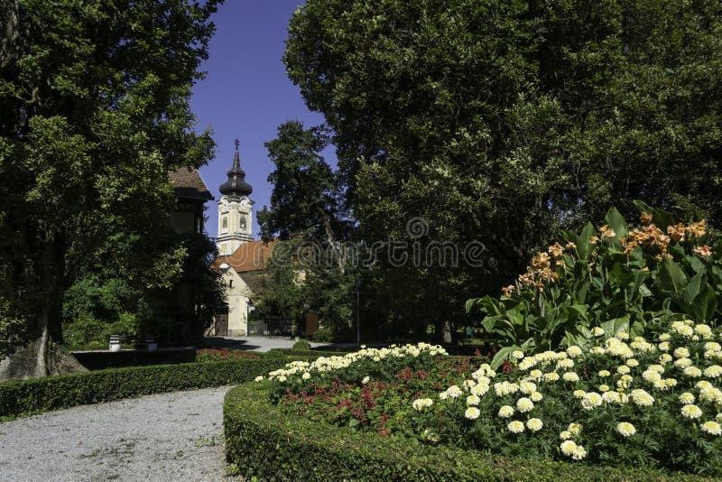 Stadspark, Daruvar, Kroatië stock foto's