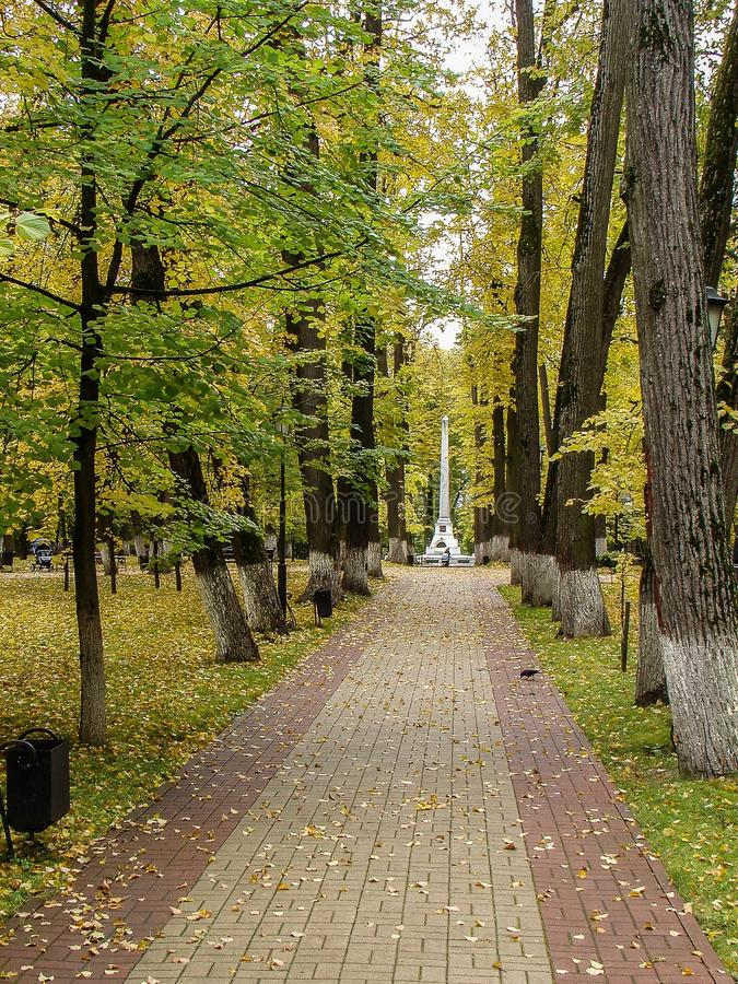 Stadspark dat na Konstantin Tsiolkovsky in Kaluga wordt genoemd stock fotografie