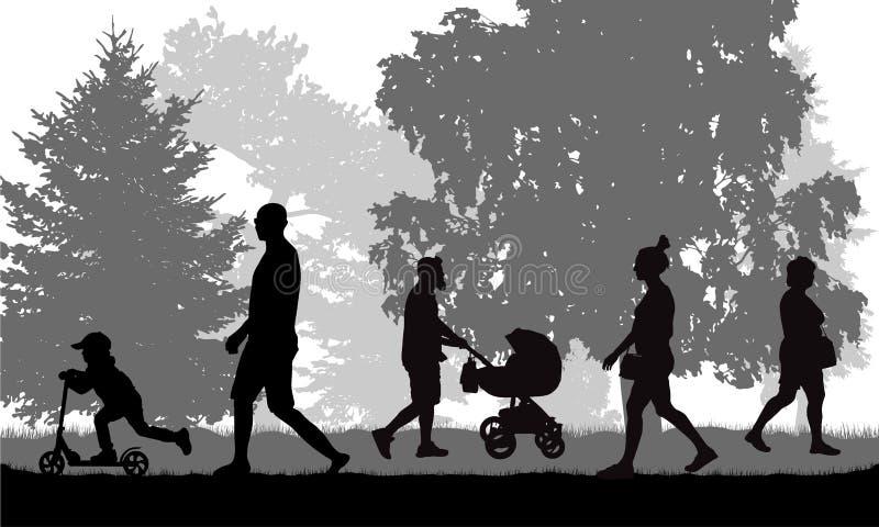 stadspark långt Gå folkkonturer, vektor vektor illustrationer