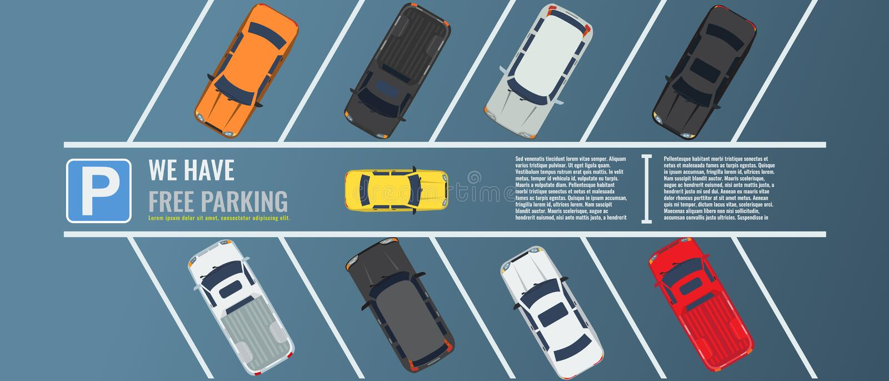 Stadsparkeerterrein met een groep verschillende auto's hoogste mening Openbaar parkeerterrein Vector Vlakke illustratie voor Web  stock illustratie