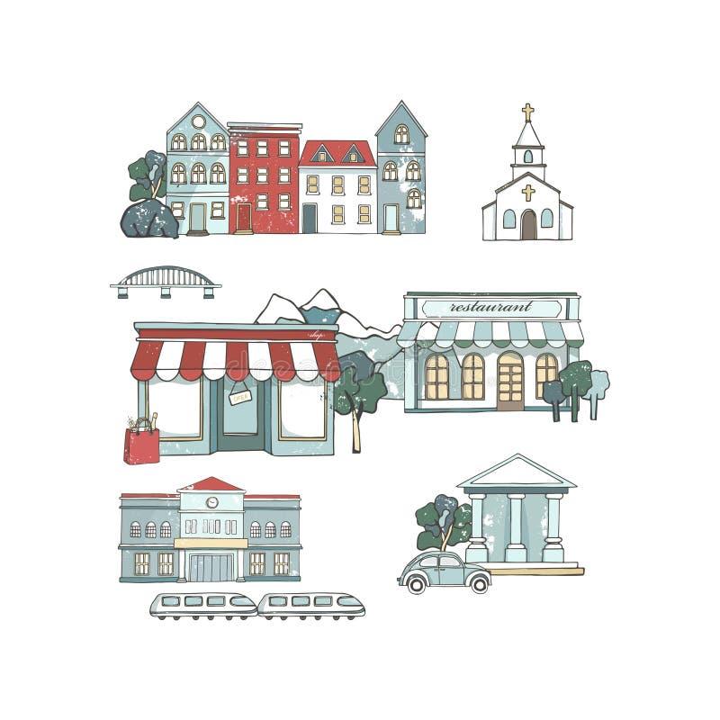 Stadsplaatsen met gebouwen in vlak ontwerp worden geplaatst dat Koffierestaurant, muziektheater, huis, Kathedraal, schuur, museum stock foto