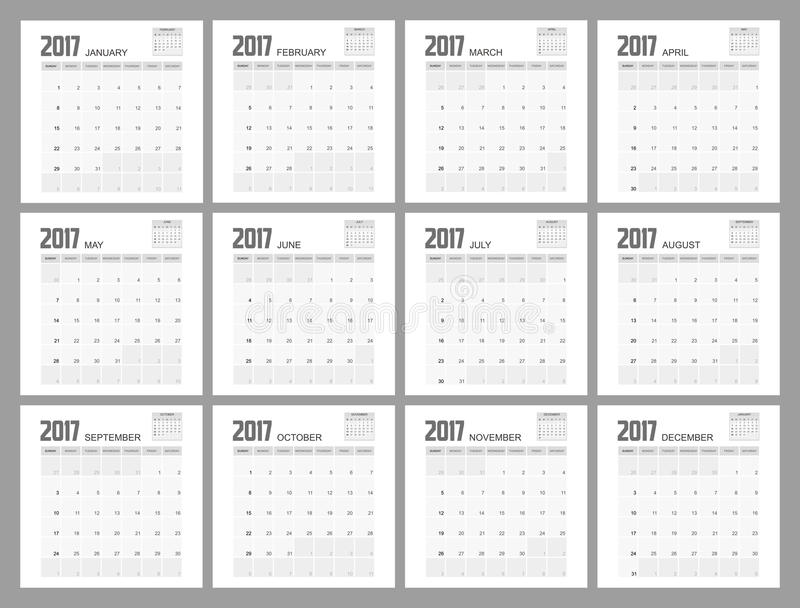 Stadsplaneraredesign för 2017 kalender stock illustrationer