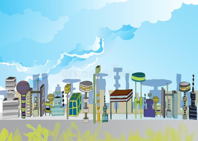 stadsplats 2099 stock illustrationer
