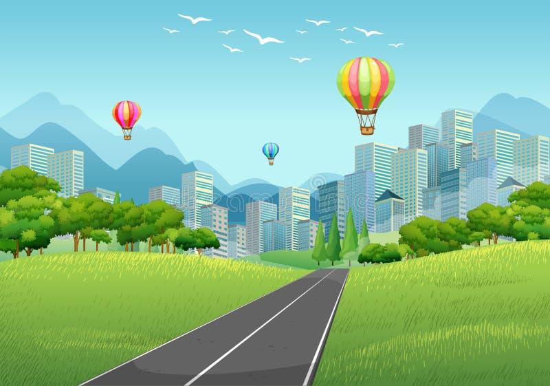 Stadsplats med ballonger och högväxta byggnader stock illustrationer