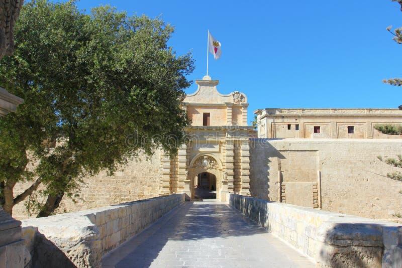 Stadsport Mdina, Malta royaltyfri bild