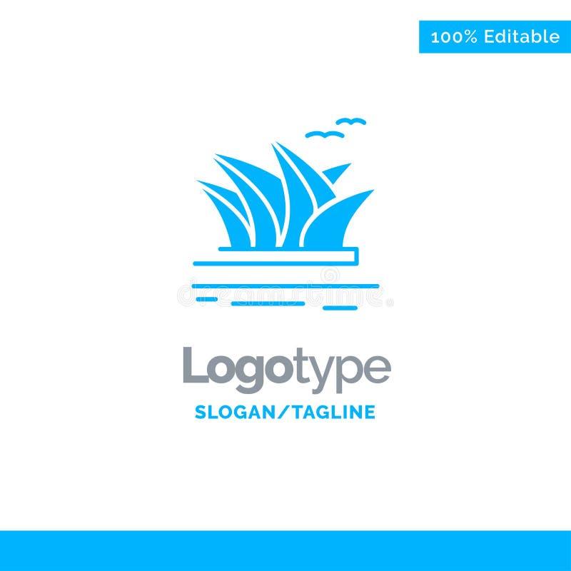 Stadsreeksen, Cultuur, Haven, Operahuis, Sydney Blue Solid Logo Template Plaats voor Tagline vector illustratie