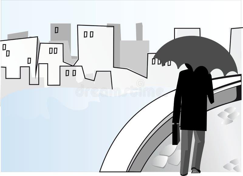 stadsregn vektor illustrationer