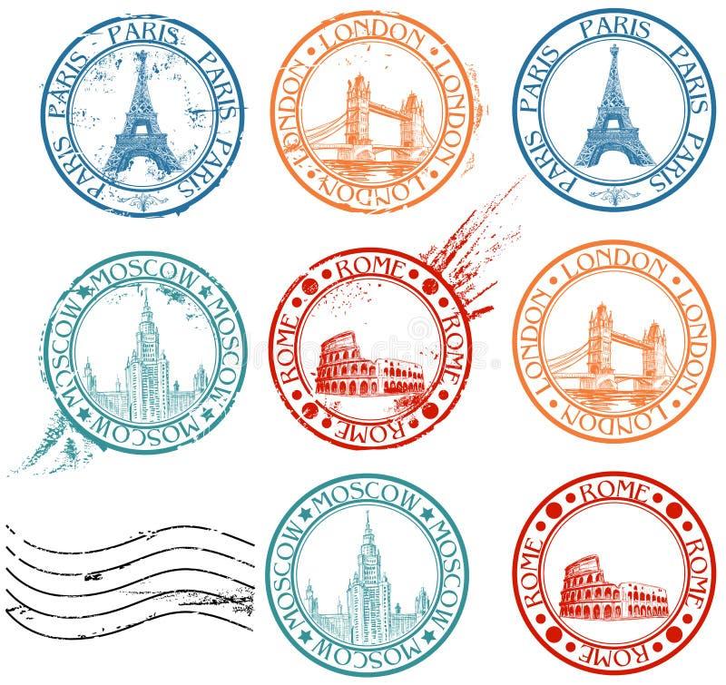 stadssamlingsstämplar vektor illustrationer