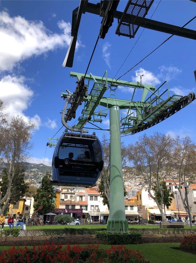 Stadsscène en kabelwagen, Funchal, Madera royalty-vrije stock fotografie