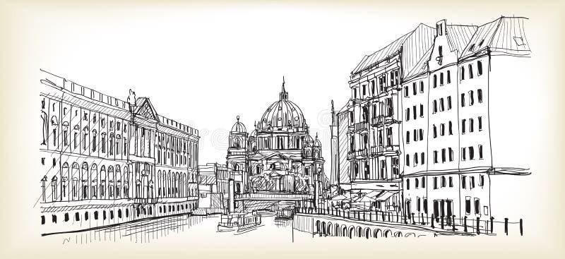 Stadsscape i Tyskland Berlin domkyrka Gammal dragen byggnadshand stock illustrationer