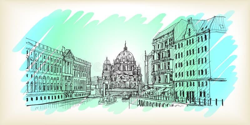 Stadsscape i Tyskland Berlin domkyrka Gammal dragen byggnadshand vektor illustrationer