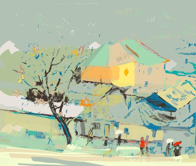 Stadsscape på en regnig dag stock illustrationer