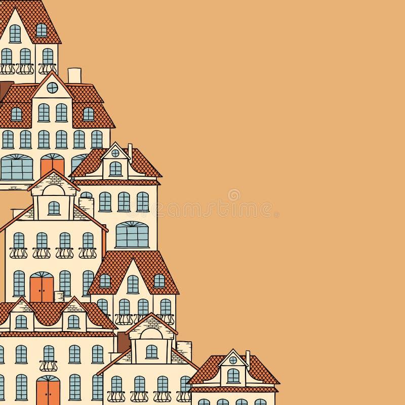Stadsschets, huizenachtergrond voor uw ontwerp stock illustratie