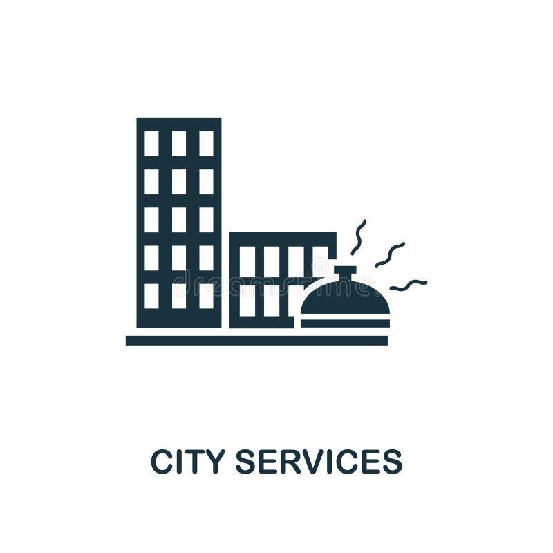 Stadsservicesymbol Högvärdig stildesign från urbanismsymbolssamling UI och UX För stadsservice för PIXEL perfekt symbol för rengö stock illustrationer