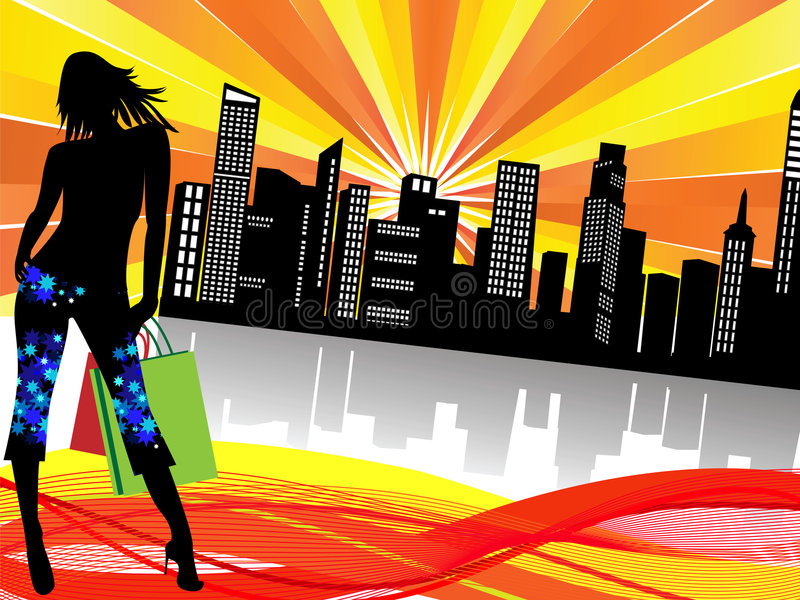 stadsshopping royaltyfri illustrationer