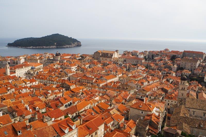 Stadssikt av den gamla staden Dubrovnik arkivbild