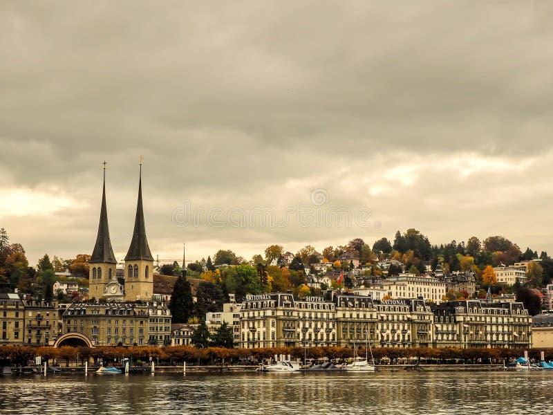 Stadssikt av Lucerne arkivfoton