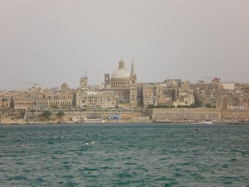 Stadssikt av Valletta, Malta arkivfoto