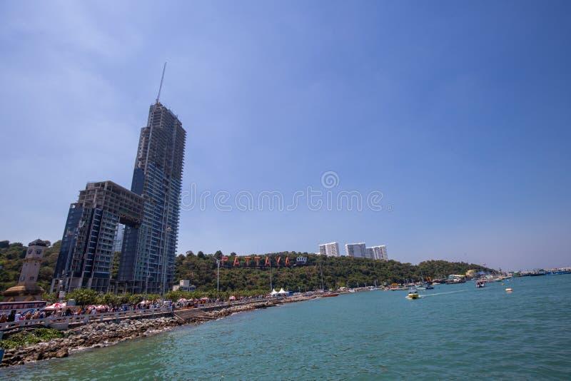Stadssikt från arial sikt i den pattaya stranden, Thailand royaltyfri foto