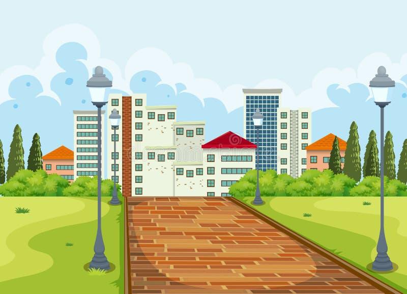 Stadssikt från parkerabakgrunden vektor illustrationer