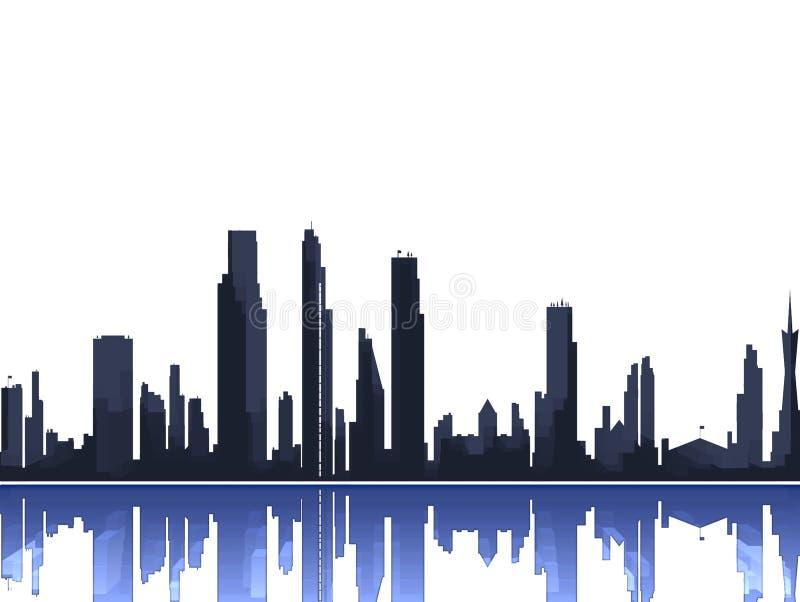 stadssilhouettehorisont vektor illustrationer