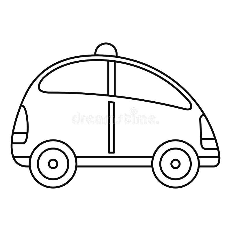 Stadssjälv som kör bilsymbolen, översiktsstil stock illustrationer