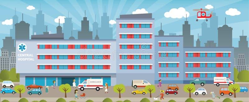 Stadssjukhus stock illustrationer