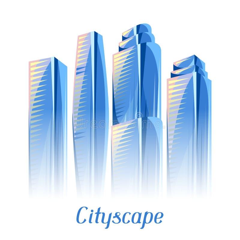 Stadsskyskrapabakgrund i blåa färger royaltyfri illustrationer