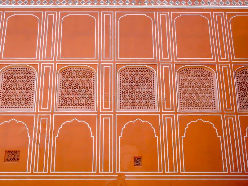 Stadsslottväggen, Jaipur, Indien arkivfoto