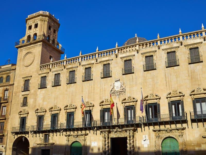Stadsstadhuis vierkant Alicante, Costa Blanca, Spanje stock foto