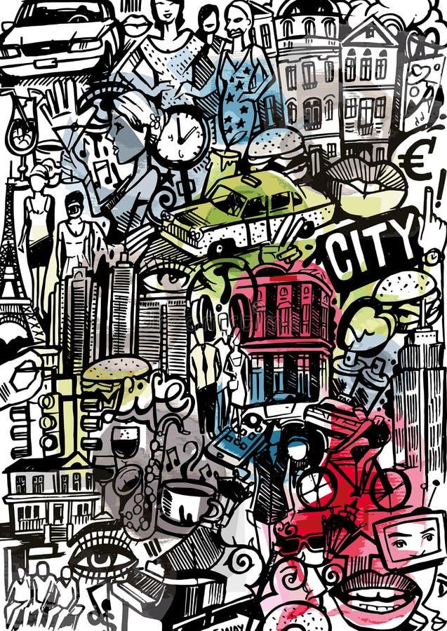 Stadsstilbakgrund royaltyfri illustrationer