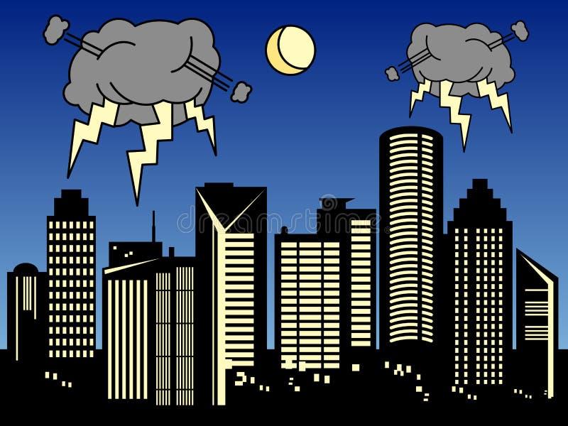 stadsstorm stock illustrationer