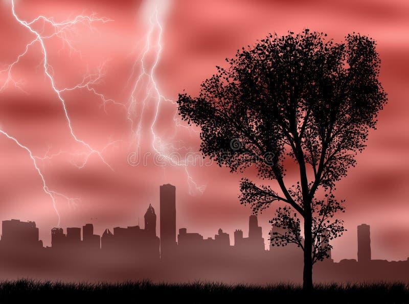 stadsstorm royaltyfri illustrationer
