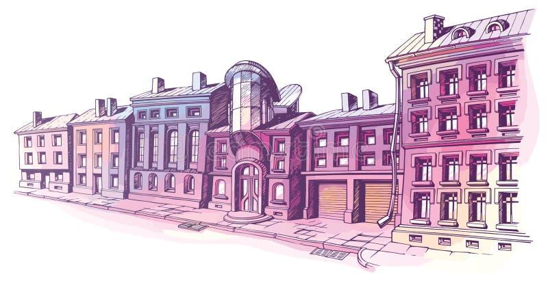 Stadsstraat stock illustratie