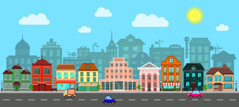 Stadsstraat in een Vlak Ontwerp royalty-vrije illustratie