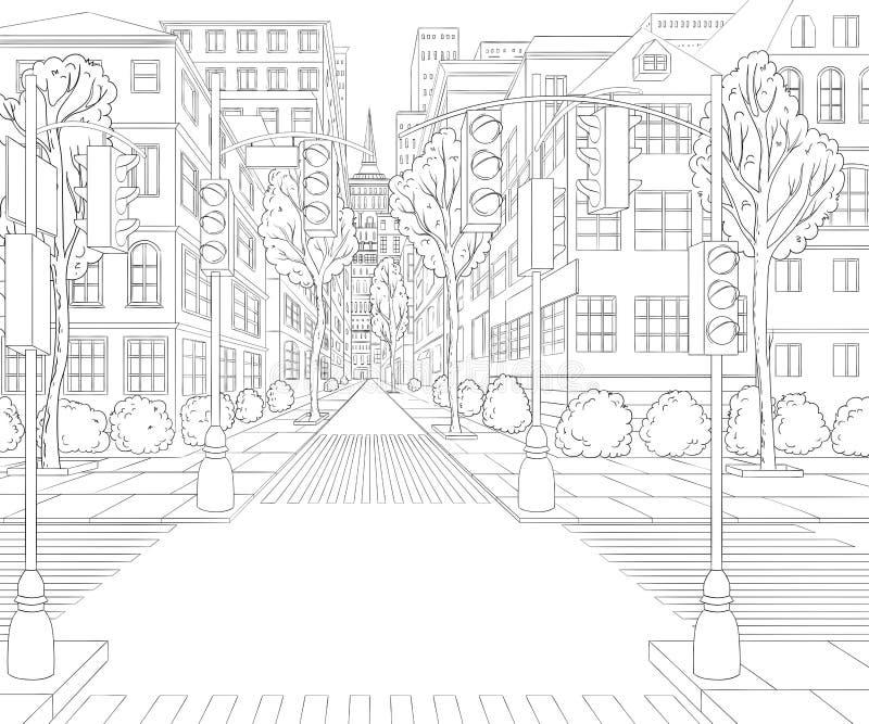 Stadsstraat met gebouwen, verkeerslicht, zebrapad en verkeersteken vector illustratie
