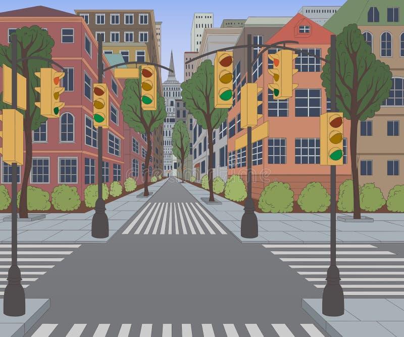 Stadsstraat met gebouwen, verkeerslicht, zebrapad en verkeersteken Cityscape achtergrond royalty-vrije illustratie