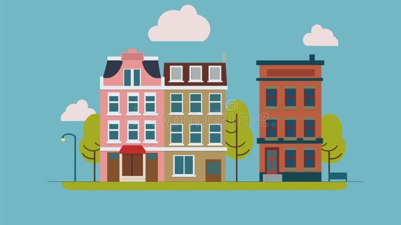 Stadsstraat met huisvoorgevels, bomen en andere stedelijke details stock illustratie